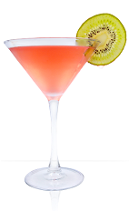 The Strawberry Kiwi Margarita is a red colored cocktail recipe made from 901 Silver tequila, lime juice, kiwi, strawberries and agave nectar, and served in a chilled cocktail glass garnished with a kiwi slice.