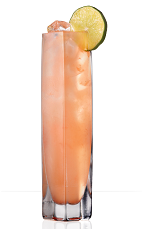 The 901 PM is a pink colored drink recipe made from 901 Silver tequila, pink grapefruit juice, lime juice and club soda, and served over ice in a highball glass garnished with a lime slice.