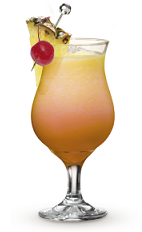 The 9 Peaches cocktail recipe is a peach colored summer drink made from Cruzan 9 spiced rum, peach schnapps, pineapple juice and cranberry juice, and served over ice in a hurricane glass.