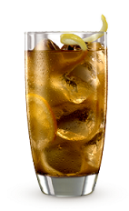 The 9 Tea drink recipe is made from Cruzan 9 spiced rum, peach schnapps and iced tea, and served over ice in a highball glass.