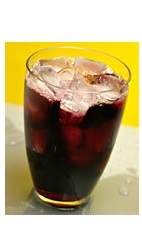 The Acai You Bebe drink recipe is made from Boca Loca cachaca, St-Germain elderflower liqueur, passion fruit juice, acai puree, simple syrup and club soda, and served over ice in a highball glass.