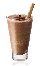 The African Brew is a brown colored drink made from Amarula cream liqueur, banana, chocolate ice cream and ice, and served in a chilled wine glass.