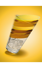The All In drink recipe is made from Xante cognac, dark rum, peach puree, apple juice, lemon juice, sugar and club soda, and served over ice in a highball glass.