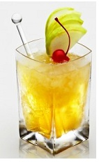 The Almond Apple Pie is an orange cocktail made from Disaronno liqueur, vodka and apple juice, and served with apple slices and a cherry over ice in a rocks glass.