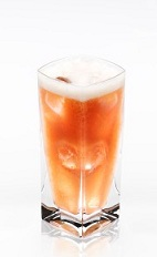 The Almond Surfer is an orange drink made from Disaronno, coconut rum, white rum, pineapple juice and cranberry juice, and served over ice in a highball glass.