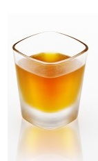 The Amaretto Rookie is an orange colored shot made from Disaronno almond liqueur and butterscotch schnapps, and served in a chilled shot glass.