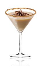 The Amarula Obsession is a brown colored cocktail made from Amarula cream liqueur, Disaronno amaretto liqueur and milk, and served in a cinnamon crusted cocktail glass.