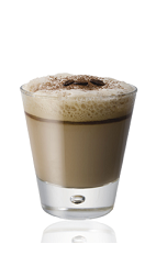 The Amarula Vodka Espresso is a brown colored drink made from Amarula cream liqueur, vodka, espresso and sugar, and served in a rocks glass.