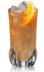 The Anejo Highball is an orange drink made from Bacardi 8 year old rum, orange curacao, lime juice, bitters and ginger beer, and served over ice in a highball glass.