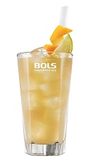 The Anejo Knuckleball is a refreshing orange drink made from Bols barrel aged genever, Cointreau, lime juice and ginger beer, and served over ice in a highball glass.