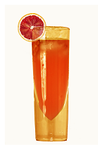 The Aperitivo Ventura is a refreshing orange colored drink made from Ventura Orangecello, Campari and club soda, and served over ice in a collins glass.