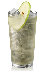 The Apple and Ginger Ale is made from Bacardi apple flavored rum, ginger ale and apple, and served over ice in a highball glass.