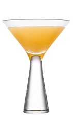 The AppleCart cocktail is made from Cointreau orange liqueur, Calvados apple brandy and lemon juice from a meijer lemon, and served in a chilled cocktail glass.