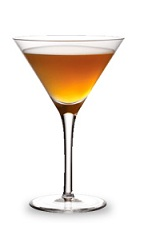 The Apple Creek Martini is an orange cocktail made from sour apple schnapps, bourbon, sour mix and cranberry juice, and served in a chilled cocktail glass.