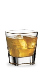 The Apple Manhattan is a variation of the classic Manhattan drink. An orange drink made from sour apple schnapps and bourbon, and served over ice in a rocks glass.