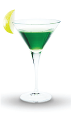 The Appleknocker Martini is a vibrant green cocktail perfect for Halloween parties or any Fall event. Made from Finlandia lime vodka, apple juice and green apple syrup, and served in a chilled cocktail glass.