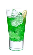 The Aqua Thunder is an exciting green drink made from Midori melon liqueur, blue curacao, banana liqueur, lemon juice and club soda, and served over ice in a highball glass.