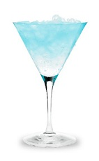 The Aquatini is a blue cocktail made form Pucker Island Punch schnapps, lemon vodka and sour mix, and served in a chilled cocktail glass.
