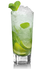 The Bacardi Mojito is made from Bacardi rum, mint, lime, simple syrup and club soda, and served over ice in a highball glass.