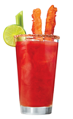 The Bacon Infused Bloody Mary is the ultimate hangover breakfast drink recipe. Combining the elements of a hearty bacon breakfast with the healing powers of a classic Bloody Mary cocktail. A red colored drink made from Clamato tomato cocktail, vodka, Worcestershire sauce, Tabasco sauce, salt, pepper, lime, celery and bacon, and served over ice in a highball glass.
