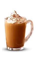 The Bailey's Hot Chocolate is a brown colored drink made from Bailey's Irish cream and hot chocolate, and served in a coffee glass or coffee mug.