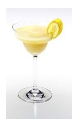 The Banana Disarita is a yellow cocktail made from Disaronno, tequila, margarita mix and banana, and served in a chilled margarita glass.