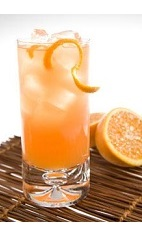 The Bitter Bull Caipirinha is an orange colored aperitif drink recipe made from Leblon cachaca, Campari, Red Bull and orange juice, and served over ice in a highball glass.