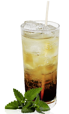 The Black and Sprite is a brown colored tall drink made from Mozart Black chocolate liqueur and Sprite, and served over ice in a highball glass.