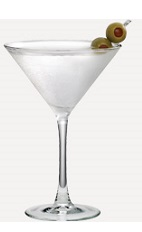 The Black Burnett's martini recipe is made from Burnett's vodka, dry vermouth and olives, and served in a chilled cocktail glass.