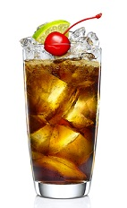 The Black Storm is a tall dark drink perfect for relaxing by the beach while a tropical storm rolls within sight, also a good Talk Like a Pirate Day drink. A brown colored drink made from Malibu Black rum, cola (Coke or Pepsi), lime and cherry, and served over ice in a highball glass.