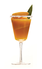 The Blood and Sable cocktail recipe is made from Clement Premiere Canne rum, Cherry Heering, sweet vermouth, Peychaud bitters and orange juice, and served in a chilled cocktail glass.