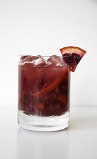 The Blood Orange Caipirinha drink recipe delivers on its name. A dark orange colored cocktail made from Leblon cachaca, blood orange, lime juice and sugar, and served in a rocks glass full of ice.