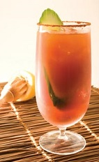 The Bloody Carioca Caipirinha is a Brazilian-inspired variation of the classic Bloody Mary drink recipe, the classic breakfast drink. Made from Leblon cachaca, tomato juice, lemon juice, Worcestershire sauce, celery salt, black pepper, cayenne pepper, nutmeg and onion powder, and served over ice in a highball glass.