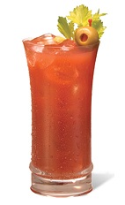 The Bloody Jimador is a tequila-based Bloody Mary. A red drink made from tequila, bloody mary mix, celery, olives and lime, and served over ice in a highball glass.