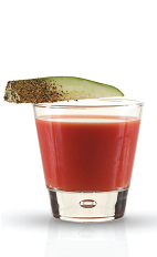 The Bloody Mary Redesigned is a modern take on the classic hangover medicine, the Bloody Mary. This variant is made from Finlandia lime vodka, ginger, lime juice, Tabasco sauce, Worcestershire sauce, tomato juice, and salt and pepper, and served in a rocks glass.