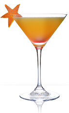 The Bloody Rita is an orange colored cocktail recipe made from 901 Silver tequila, lime juice, blood orange juice and agave nectar, and served in a chilled cocktail glass garnished with a slice of blood orange cut into a star shape.