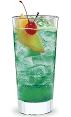 The Blue Banana is a bluish-green drink made from Pucker Island Punch schnapps, creme de banana, pineapple juice and club soda, and served over ice in a highball glass.
