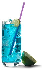 The Blue Bombsicle drink recipe is a blue colored cocktail made from UV Blue raspberry flavored vodka and lemonade, and served over ice in a highball glass.