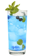 The Blue Crush is a blue colored drink made from Hpnotiq, blueberry vodka, lemonade and club soda, and served over ice in a highball glass.