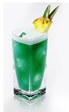 The Blue Italian Heaven is a tropical green drink made from Disaronno, dark rum, blue curacao, pineapple juice and lime, and served over ice in a highball glass.