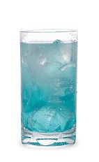 The Blue Mountain Punch is a blue drink made from Pucker Island Punch schnapps, citrus vodka and lemon-lime soda, and served over ice in a highball glass.