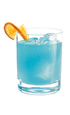 The Blue Orchid is a blue drink made from Hpnotiq liqueur, vanilla vodka, orange juice and club soda, and served over ice in a rocks glass.