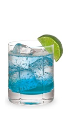 The Blue Velvet is a blue cocktail made from Pucker Island Punch schnapps, triple sec, vodka, lime juice and club soda, and served over ice in a rocks glass.