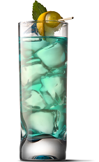 The Blue Velvet drink recipe is a green colored cocktail made from UV Blue raspberry vodka, pineapple juice and grenadine, and served over ice in a highball glass.