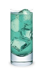 The Blue Zero is a blue colored drink made form Pucker Island Punch schnapps, Jim Beam bourbon, Cointreau orange liqueur and club soda, and served over ice in a highball glass.