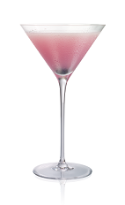 The Blueberry Alias cocktail is made from Stoli Blueberi blueberry vodka, blueberry syrup and lime juice, and served in a chilled cocktail glass.