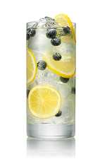 The Blueberry Lemonade drink is made from Stoli Blueberi blueberry vodka, lemonade and blueberries, and served over ice in a highball glass.
