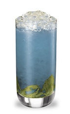 The Blueberry Mojito High is a modern variation of the classic Mojito drink. A blue colored drink made from blueberry schnapps, light rum, simple syrup, lime juice, mint and club soda, and served over crushed ice in a highball glass.