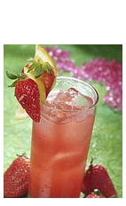 The Boca Royale cocktail is a red colored drink made from Boca Loca cachaca, lemon juice, simple syrup, strawberry and chilled champagne, and served over ice in a highball glass.