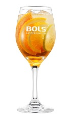 The Bols Spritzer is a refreshing orange cocktail perfect for Spring parties or Spring weddings. Made Bols triple sec, Cointreau, prosecco and orange slices, and served over ice in a wine glass.